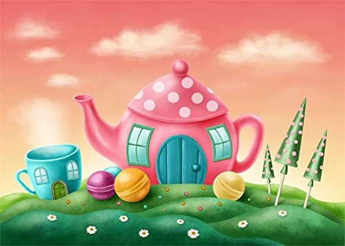 7x10 FT Tea Party Vinyl Photography Backdrop,Polka Dots on Teapots and Cups Cupcake with Cherry on Top Teabag English Background for Baby Shower Bridal Wedding Studio Photography Pictures