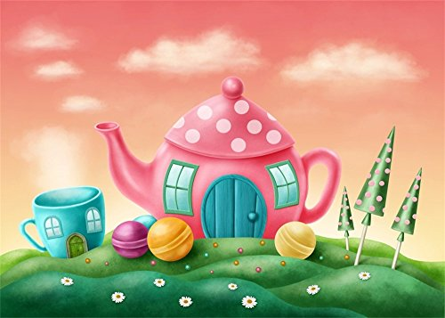 Leowefowa 7X5FT Fairytale Backdrop Pink Teapot House Candy Cups Green Grass Lawn White Flowers Cloud Fantasy Happy Birthday Vinyl Photography Background Kids Adults Photo Studio Props ()