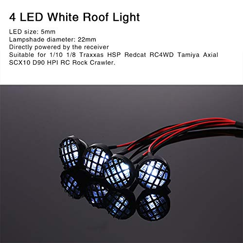 Hpi Center - Ocamo SCX10 D90 RC4WD Tamiya HSP Redcat HPI Car RC Rock Crawler 4 LED Lights Lampshade Roof Light Search Lamp for 1/10 1/8 Traxxas Axial