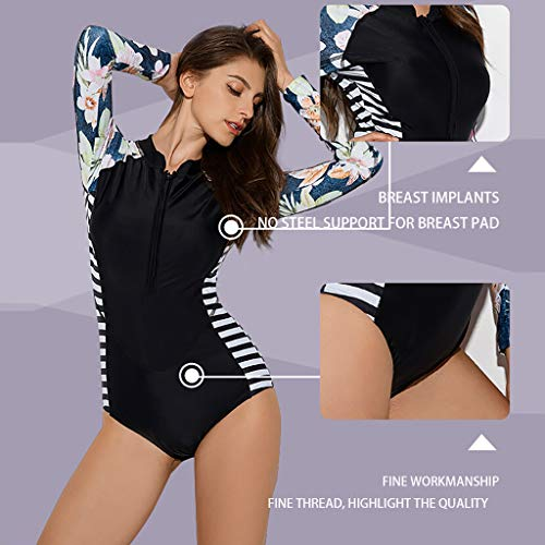 2b270d8236 Iusun Women 's One Piece Wetsuit Long Sleeve Thin Zipper Stripe Floral Siamese  Swimwear Super