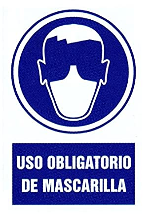 Cartel PVC 40x30 Uso obligatorio de mascarilla: Amazon.es ...