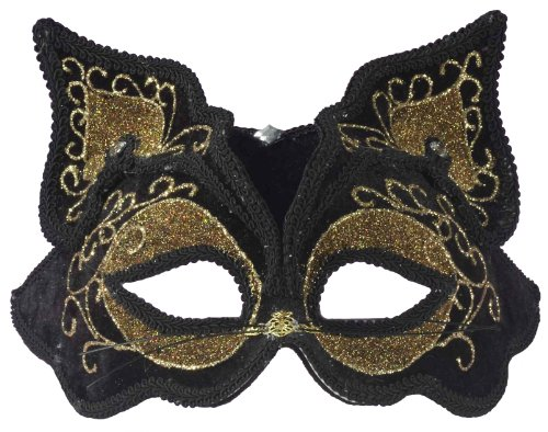 Forum Fancy Cat Style Venetian 1/2 Mask, Black/Gold, One Size (Lady Costume Mask)