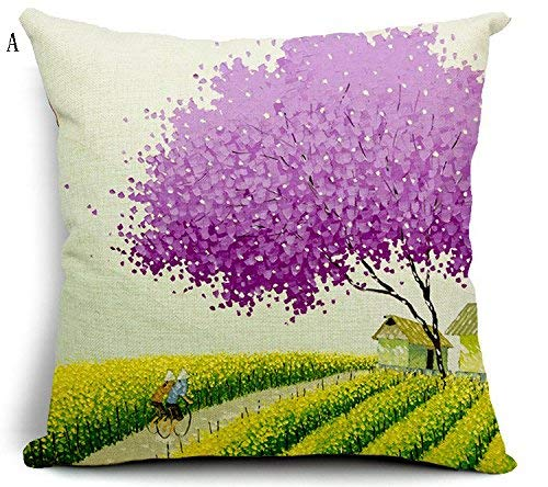 Soft Pillow Home UK-Romantic Landscape Cartoon Pillow Living Room with Sofa Bed Cushions Office Fluid Systems Flax Pillow 1818inch (Color : A)