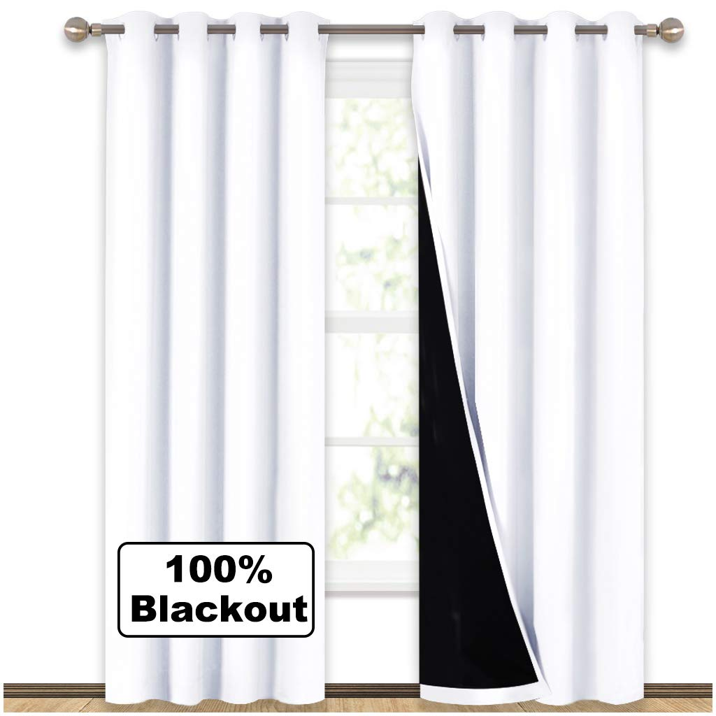 ETOWN 100% Blackout Window Curtain Panels, Heat and Full Light Blocking Drapes with Black Liner for Nursery