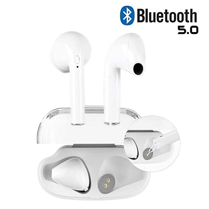 Wireless Bluetooth Headset, Wireless Headset, Sports Headset, for Apple  Airpods Android/iPhone (White)