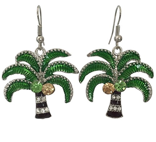(Colorful Palm Tree with Rhinestones Silver Tone Dangle Earrings)
