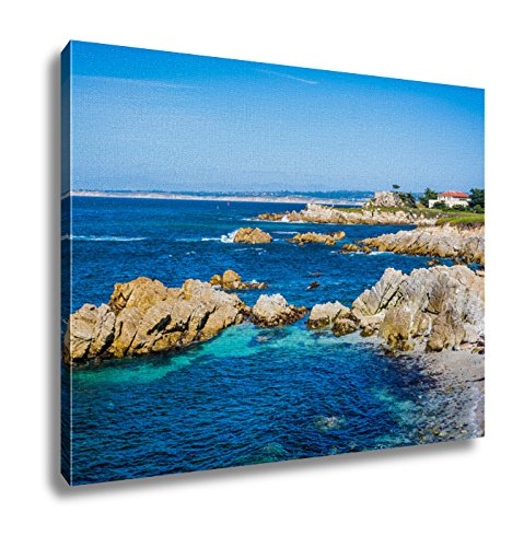 Ashley Canvas View Of Rocky Coastline In Pacific Grove California Wall Art Decoration Picture Painting Photo Photograph Poster Artworks, 20x25