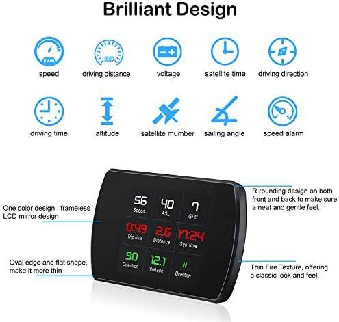 TIMPROVE Universal Car HUD Head Up Display Digital GPS Speedometer with Speedup Test Brake Test Overspeed Alarm 3 Inch TFT LCD Display for All Vehicle