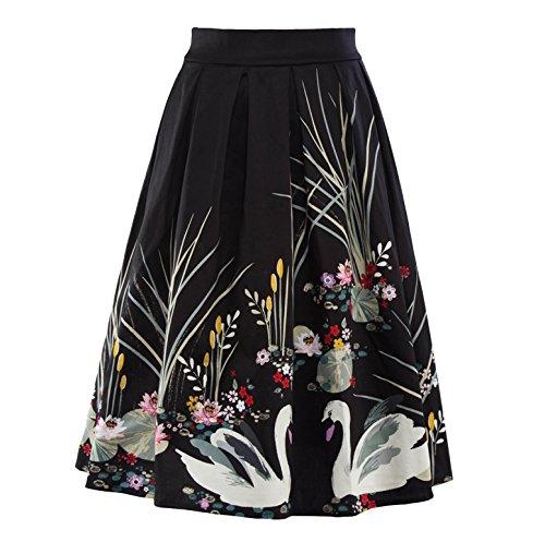 60s Plaid Skirt (Tecrio Women's 50s 60s Vintage Style Floral/ Plaid/ Checkered/ Stripes Skirts (Small, Black))