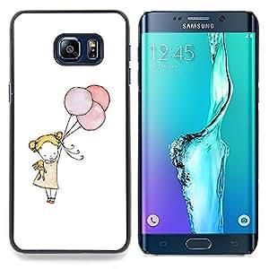 "For Samsung Galaxy S6 Edge Plus / S6 Edge+ G928 Case , Pequeña muchacha del globo Arte Blanco Madre Mamá"" - Diseño Patrón Teléfono Caso Cubierta Case Bumper Duro Protección Case Cover Funda"