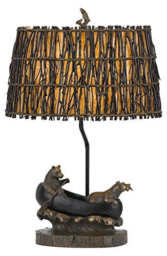 - 150W 3 Way Bear In Canoe Resin Table Lamp