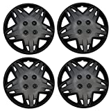 #5: TuningPros WSC3-509B14 4pcs Set Snap-On Type (Pop-On) 14-Inches Matte Black Hubcaps Wheel Cover