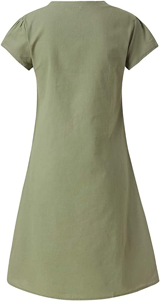Women Summer Dress Ladies Plus Size Dress T-Shirt Cotton and Linen Dress Casual Short Sleeve Midi Dress