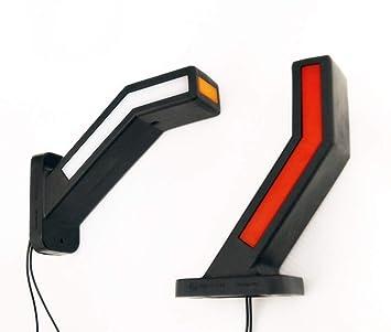 2 luces LED de posición lateral de neón de 12 V 24 V para señalización de camiones, caravanas, remolques, color blanco, naranja y rojo: Amazon.es: Coche y ...
