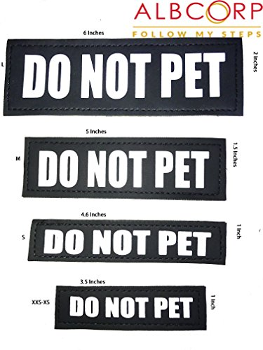 Image of Albcorp Reflective Do Not Pet Patches with Hook Backing for Service Animal Vests /Harnesses Small (4.6 X 1) Inch
