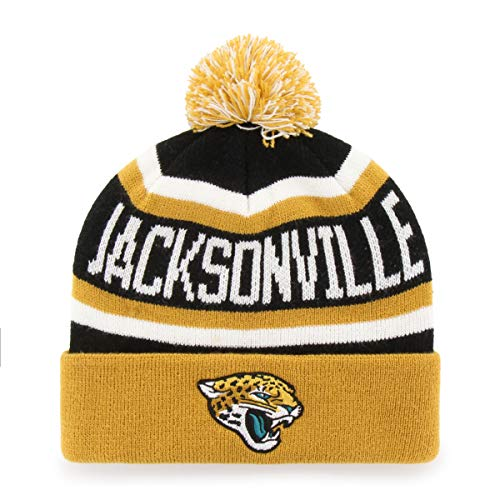(NFL Jacksonville Jaguars Men's Jasper OTS Cuff Knit Cap with Pom, Team Color, One Size)