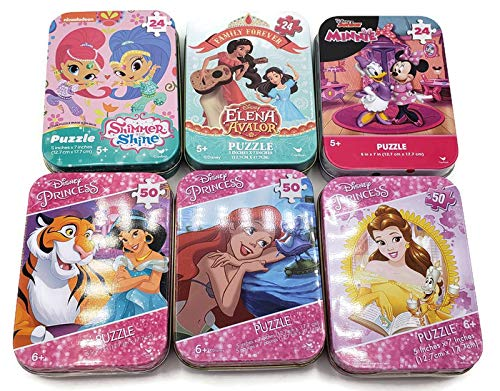 6 Collectible Girl Puzzle Tins 24 & 50 Pieces Ages 5+ 6+ Disney Princess (Ariel, Belle and Jasmine), Elena Avalor, Shimmer and Shine and Minnie Bundle Gift Set