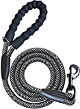"""iYoShop Dog Leash Pet Rope Leash - 3/8 Inch Thick 5 Feet Long - Thick Durable Nylon Rope - Soft Handle and Light Weight Training Leashes - for Small Medium Large Dogs (3/8"""" X 5', Black/White)"""