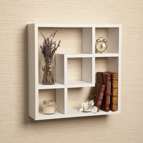 Geometric Square Wall Shelf with 5 Openings (White Cd Cabinet)