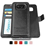 AMOVO Case for Galaxy S8 Plus [2 in 1], Galaxy S8 Plus Wallet Case [Detachable Wallet Folio] [2 in 1] [Premium Vegan Leather] Samsung Galaxy S8 Plus Flip Cover with Gift Box Package (S8Plus, Black)
