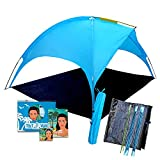 Beach Tent canopy Saturn: shades better than umbrella! 4 people Shade shack, easy up sports cabana, waterproof rain & Sun shelter for kids & adults, outdoor UV protection sunshade for sporting events