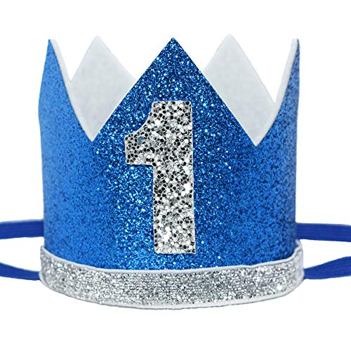 Maticr Glitter Baby Boy First Birthday Crown Number 1 Headband Little Prince Cake Smash Photo Prop (Royal Blue and silver)