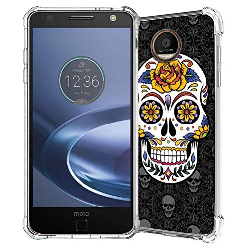 Moto Z2 Play Case, SuperbBeast Slim Thin Scratch Resistant TPU Bumper Gel Rubber Soft Skin Silicone Protective Case Cover for Motorola Moto Z2 Play 2nd Generation (Sugar Skull)