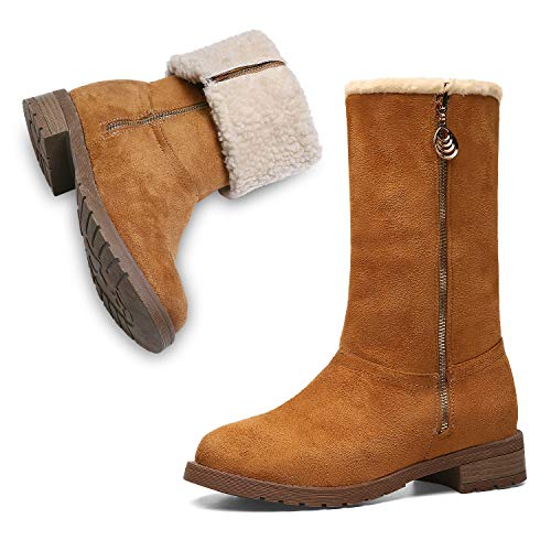 Stylish High Heel Boots (Winter Boots for Women Stylish Fold Suede Closed Toe Mid-Calf Zipper High Snow Boots)