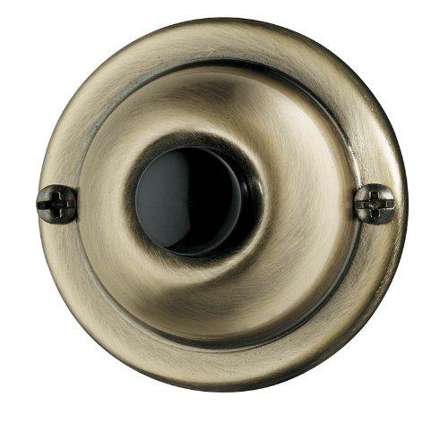 NuTone PB67AB Wired Unlighted Door Chime Push Button, Antique (Brass Door Doorbell)
