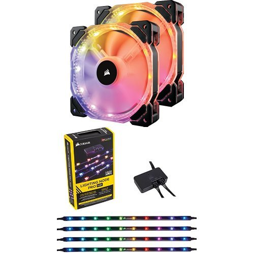 Corsair HD Series HD140 RGB LED 140mm High Performance RGB LED PWM Dual Fans with Controller Cooling and CORSAIR Lighting Node PRO by Corsair