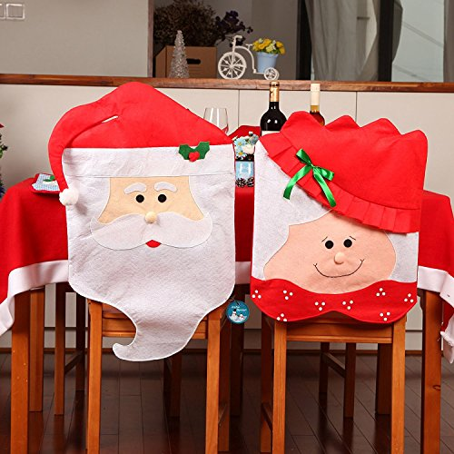 Pack 2 Christmas Kitchen Chair Cover Featuring Mr and Mrs Santa Claus-Transform Your Dining Room Chairs And Your Home For The Spirit of (Mrs Claus Christmas)