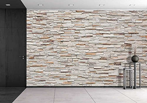 wall26 Pattern of Decorative Stone Wall Background - Removable Wall Mural | Self-adhesive Large Wallpaper - 100x144 inches - Decorative Wall Murals