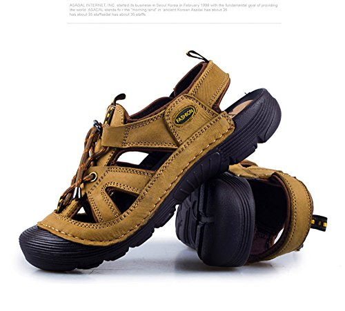 ShangYi Summer leather men's sandals men's fashion trend wild leather sandals outdoor breathable beach shoes men Khaki 54A53sA