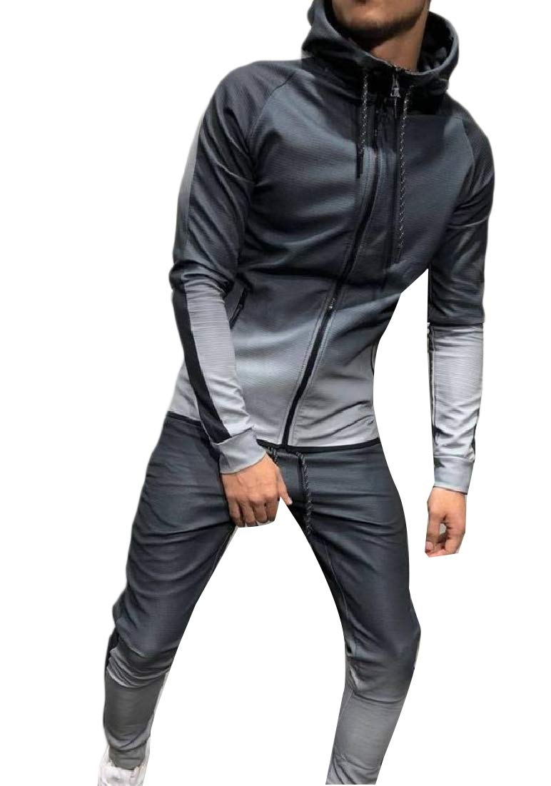Grey Doanpa Men's Loose-Fit Casual Casual Casual With Zips Hoodie Drawstring Sport Tracksuit Grey S 2fe2d1