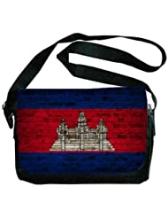 Cambodia Flag Brick Wall Design Messenger Bag