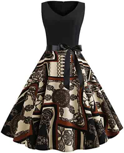 Women's 1950s Vintage Sleeveless Floral Print Casual Evening Party Cocktail Prom Swing Dress
