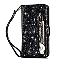 Jennyfly iPhone 7 Plus Wallet Case for Women,Fashion PU Leather Shiny Wallet Purse Case with Hand Strap ID&Credit Cards Pocket with Stand Feature for 5.5 inch iPhone 7 Plus/8Plus - Black