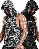 DRSKIN 2 Pack Men's Hooded Tank Tops Bodybuilding