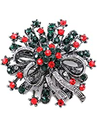 Christmas Wreath Flower Ribbon Brooch Pin Pendant Necklace Compatible