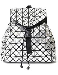 Geometric Lattice Backpack Travel School Bag Drawstring Rucksack for Women Biker Teens (Silver)