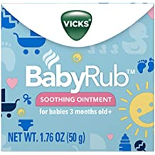 Vicks BabyRub Chest Rub Ointment with Soothing Aloe, Eucalyptus, Lavender, and Rosemary, from the makers of VapoRub, 1.76 oz (pack of 6)