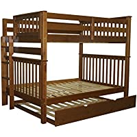 Bedz King Bunk Beds Full over Full Mission Style with End Ladder and a Full Trundle, Espresso