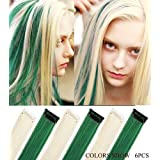 Rhyme Vintage-inspired Green White 20 Inch Set Straight Colorful Colored Clip In/On Hair Extensions Party Highlight Multi Colors Hair pieces For Woman/Girls/Lady