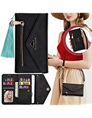 Galaxy A52 5G Wallet Case with Crossbody Strap,Casmyd 7 Credit Card Slots Magnetic Kickstand Flip Wallet Clutch Full Protective Pu Leather Wristlet Zipper Pocket Phone Purse Bag for Samsung A52 5G