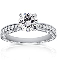 Antique Near-Colorless (F-G) Moissanite Engagement Ring with Diamond 1 1/4 CTW 14k White Gold