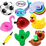 SWZY Inflatable Drink Holder-Float Flamingo Drink Holders Inflatable Pool Cup Holders, Floats Boats Pool Floats Inflatable Floating Coasters for Pool Party Water Fun (Multi 9 Pack)