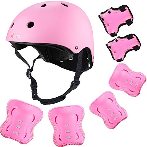 PHZ. Kids Bike Helmet, Toddler Helmet for Ages 3-10 Boys Girls with Sports Protective Gear Set Knee Elbow Wrist Pads for Skateboard Cycling Scooter Rollerblading
