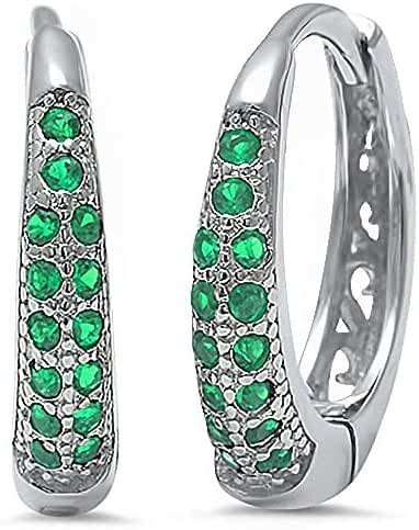 Simulated Green Emerald Cz .925 Sterling Silver Hoop Earring