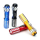 MECO Mini LED Flashlight Keychain Portable Torch Light with Pocket Clip, Use AA Battery(Not Included), Pack of 4