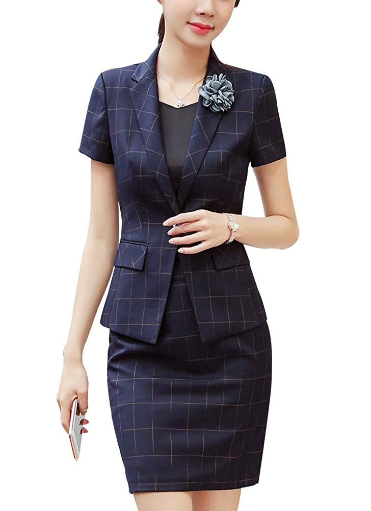 bluee LISUEYNE Women's Casual Two Pieces Blazer Suit One Button Office Blazer Jacket&Pant Skirt Suit